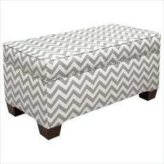 Lowest price online on all Skyline Furniture Storage Bench in Ash and White - 6225STZGZGASH
