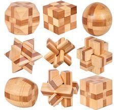 9PCS/LOT IQ Bamboo Interlocking Burr Puzzle Mini Size 3D Brain Teaser Game Toy for Adults Kids