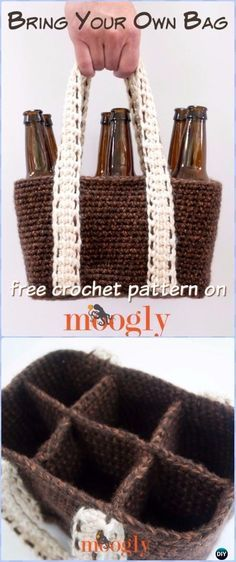 Crochet Bring Your Own Bag Free Pattern - Crochet Wine Bottle Cozy Bag Free Patterns