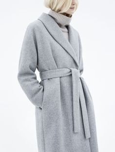 light silver-grey belted coat | long, simple | clean lines | modern, minimal, chic | nude turtleneck | fall/winter fashion | street style inspiration | classic