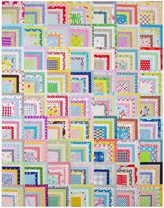 Scrappy Quarter Log Cabin Quilt -- oohhh ... I like this ... what a different approach to log cabin quilting!