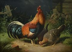 Ferdinand Henricsson von Wright — Rooster and Hens, 1871 Farm Animals, Cute Animals, Intermediate Colors, The Barnyard, Cross Stitch Supplies, Chickens And Roosters, Famous Art, Dutch Artists, Ferdinand