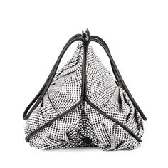 """THE BAG'S SHAPE IS INSPIRED BY THE JAPANESE ART OF PAPER FOLDING,   WHILE THE MAIN DESIGN IS BASED ON """"FUXICO""""( FABRIC YO-YO), A TRADICIONAL HANDCRAFT FROM BRASIL.   BY BUTTONING AND UNBUTTONING THE BAG, YOU CAN CHOOSE THE SHAPE AND SIZE, MAKING IT SMALL, MEDIUM OR LARGE."""