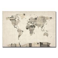 Found it at Joss & Main - Vintage Postcard World Map Canvas Giclee Print