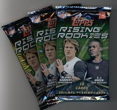 (3) 2011 Topps Rising Rookies Football Cards Unopened Packs (10 cards per pack)- Randomly Inserted Autographs & Jersey Cards - Cam Newton Rookie Year! by Rising Rookies. $5.95. (3) 2011 Topps Rising Rookies Football Cards Unopened Packs (10 cards per pack)- Randomly Inserted Autographs & Jersey Cards - Cam Newton Rookie Year!