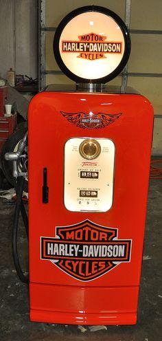 Old refrigerator turned Vintage Gas Pump Kegarator
