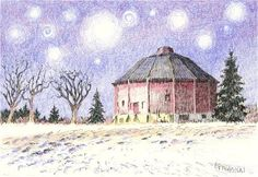 """Daily Paintworks - """"Starry Night Over the Last Barn"""" - Original Fine Art for Sale - © Suzanne Poursine-Massion"""
