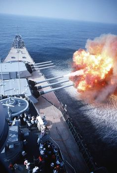 USS Wisconsin (BB - firing one of its Mark 7 50 caliber guns of turret No. 2 while underway. This is the last firing of the vessel's guns prior to its decommissioning, May Navy Marine, Navy Military, Uss Iowa, Poder Naval, Ps Wallpaper, Us Battleships, Sports Nautiques, Go Navy, Us Navy Ships