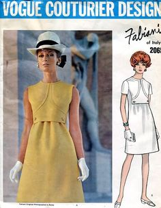 Sewing Patterns Vintage Out of Print Retro,Over 7000 ,Vogue Simplicity McCall's - Vogue 2065 Retro 1960's Designer Fabiana Mod Dress Label!