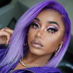 Purple hair lovr the makeup hair makeup Purple Hair Black Girl, Black Girl Makeup, Girls Makeup, Beauty Makeup, Eye Makeup, Hair Makeup, Hair Beauty, Witch Makeup, Devil Makeup