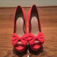 "JustFab Open-toe Heels JustFab open toe heels. Worn once. Bright coral. Size 7.5. 4-5"" heel. Platform. Suede with bows detail. JustFab Shoes Heels"