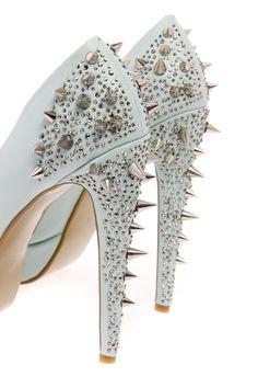 Boutique Kate Mint Stud & Diamante Platform Heels