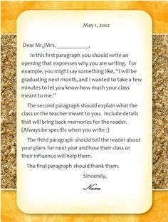 letter for teachers