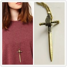 Sword Necklace -Game of Thrones Inspired- 3D Minimalist Miniature Double-Edged Sword Dagger Knife Metal Weapon Long Necklace, men women gift