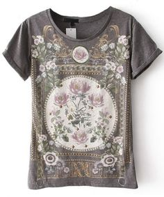 Grey Short Sleeve Floral Cotton T-Shirt - Sheinside.com Mobile Site