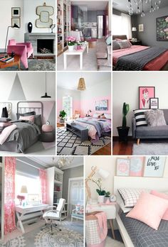 Resultado de imagem para decoração de quarto tumblr preto branco azul e rosa