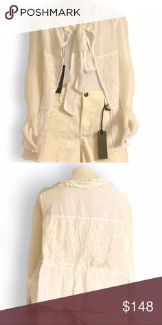 Walter Baker Helen top white boho top Walter Baker Helen lace cream white boho top. Ties in back but can also be reversed for a cute swimsuit or croptop cover. Please see stock photo for styling purposes.  Reversible. Size Small. MSRP: $148 Walter Baker Tops