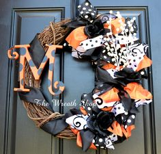 Halloween Monogram Grapevine and Ribbon Wreath - Orange, Black, and White Ribbons on Grapevine