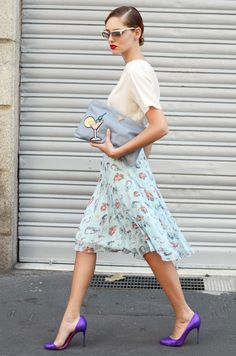CHRISTIAN LOUBOUTIN GLITTER PLATFORMS, platted printed skirt, simple top, red lips, via {The Blonde Salad}