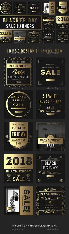 Golden Black Friday Sale Banners — Photoshop PSD #buy #black friday • Available here → https://graphicriver.net/item/golden-black-friday-sale-banners/20923733?ref=pxcr