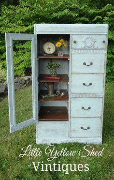 Repurposed Chifferobe from the 1930's goes from wardrobe to shelving unit. A step-by-step tutorial blog on how to refinish, reimagine, and repurpose vintage and antique furniture.