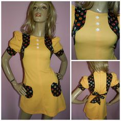 Vintage 60s YELLOW Contrast Flower Power Mini MOD GOGO dress 8 Xs 1960s Kitsch Heart pockets by HoneychildLoves on Etsy