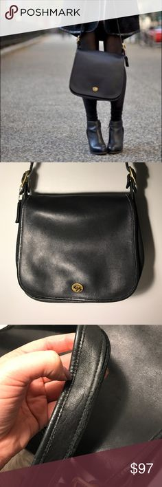 "Vintage Coach Classic Stewardess Flap Bag in Black Classic beauty! This Authentic black Coach bag is a medium/large bag. The body is approx 10"" long. Signs of love, distressed. Some scuffs but nothing major on the outside. Sturdy. Solid brass hardware. 🌿 Coach Bags Crossbody Bags"
