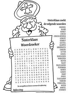 Kleurplaat Sinterklaas woordzoeker nr. 10412 - Kleurplaten.nl Craft Activities For Kids, Infant Activities, Primary School, Elementary Schools, Anniversary Crafts, Aperol, Saint Nicolas, Work Inspiration, Diy For Kids
