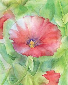 Red Hibiscus Watercolor Painting Giclee Print 8 x by SusanWindsor, $18.00