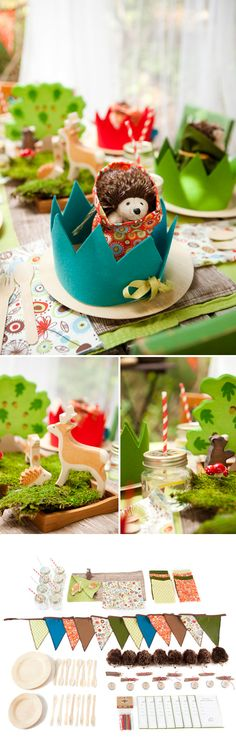 DIY party inspiration that isn't media-linked.  natural moss, cones, etc; felt & fabric banners & crowns; a few painted wooden forest animals...just charming!