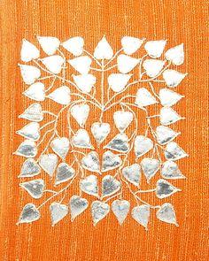 Tarusa Gota Patti Embroidered Burnt Orange silk cushion