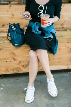 black t-shirt dress with white converse M Loves M