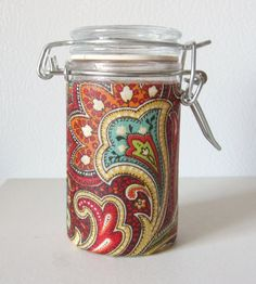 Small Glass Stash Jar : Latch-Top Jar - Red Summer Paisley by TheScarletPanda on Etsy