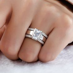Jeulia 3PC Stackable Radiant Cut Created White Sapphire Wedding Set - Jeulia Jewelry