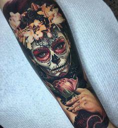 Flowery Day of the Dead Forearm Piece | Best tattoo ideas & designs