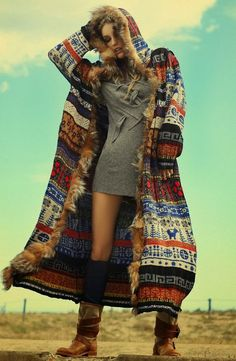 Old Fashion Long Coat With Multi Design With Stylish Dress --- something about this jacket just makes me swoon