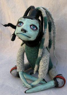 The Slug Rider ooak art doll, via Etsy. Really cool doll.