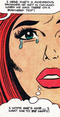 """Comic girls say.. """"I hope she's nice..I want him to be happy"""" #comic #popart #vintage"""