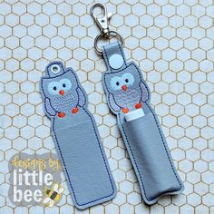 Owl Lip Balm Holder – Snap Tab & Eyelet Key Fob SET 02 23 2018 – Designs by Little Bee