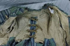 """Inside of Dress """"à la Française"""" circa 1770 Taffeta silk striped green tone blue and white pleated Watteau back. dress decorated on the front and sleeves and pleated frills also pierced the front of the skirt. Linen lining to closure strips of linen 18th Century Dress, 18th Century Costume, 18th Century Clothing, 18th Century Fashion, Rococo Fashion, Fashion In, Fashion History, Vintage Fashion, Fashion Design"""