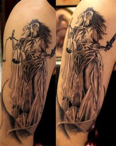 23 Lady Justice Tattoos On Sleeve Libra Scale Tattoo, Libra Zodiac Tattoos, Libra Tattoo, Arm Tattoo, Weird Tattoos, Face Tattoos, Body Art Tattoos, Sleeve Tattoos, Statue Tattoo