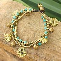 Brass beaded elephant bracelet.. novica.com