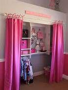 dress up closet -- curtains Dress Up Closet, Kid Closet, Closet Ideas, Hidden Closet, Closet Space, Closet Rod, Makeshift Closet, Girls Bedroom, Bedroom Decor