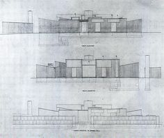 Elevations. Unbuilt Goldenberg House. Louis Kahn. 1959. Rydal, Pennsylvania