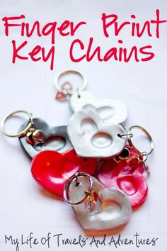 My Life of Travels and Adventures: Finger Print Key Chains Perfect for Valentines day! Mothers Day Crafts, Valentine Day Crafts, Be My Valentine, Holiday Crafts, Holiday Fun, Valentine Crafts For Toddlers, Baby Crafts, Toddler Crafts, Crafts To Do