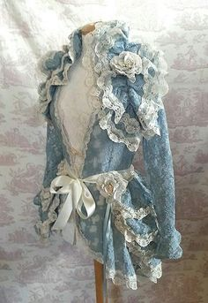 Burlesque Steampunk Bustle Skirt Lolita Victoriana Vintage Blue OPHELIA Vintage Lace Victorian Decadence By Ophelias FollyOpheliasFolly on EtsyI can make this I tell myself lol basic coat no buttons add lace and rufflesWould love this in dated or steampun Victorian Steampunk, Victorian Fashion, Vintage Fashion, Gothic, Diy Outfits, Denim And Lace, Estilo Lolita, Bustle Skirt, Look Retro