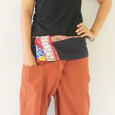 patchwork inside fold-over with brown fisherman pants  1 pocket  Thai fisherman pants,size XL,yoga,unisex pants. by meatballtheory on Etsy