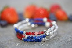 July 4th Red, White, and Blue Star Spangled Beaded Adjustable Memory Wire Bangle Bracelet, Patriotic Colors Coil Wrap Seed Bead Bracelet by CinnamonandSilver on Etsy