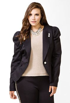 Pleated Geo Button Jacket | FOREVER21 PLUS - 2044236443