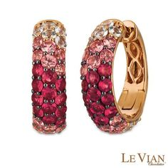 #ZALES - #Levian Corp Le Vian® Passion Ruby™, Strawberry Sapphires™ and Vanilla Sapphires™ Ombre™ Hoop Earrings in 14K Strawberry Gold® - AdoreWe.com